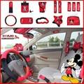 14 Unids Mickey Mouse Coche de Dibujos Animados cubierta Del Volante Del Coche Funda de Asiento cubiertas Accesorios para Audi VW Volkswagen Mazda Ford Lada Priora KIA