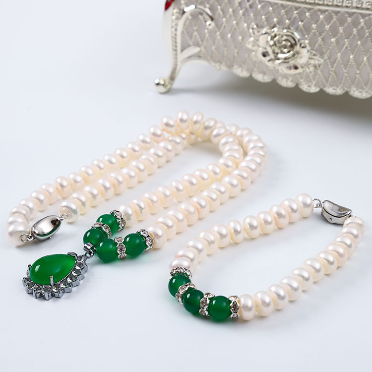 Addy store Natural Pearl Necklace Set 9 10 Mm Near Round Flawless Strong Light Single handed Fresh Water Pearl Necklace