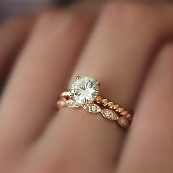 DUPUY 14K Rose Gold Engagement Rings Set 1.0ct Cut Forever Classic Ring&Half Eternity Conflict Diamond Wedding Ring D180381 3