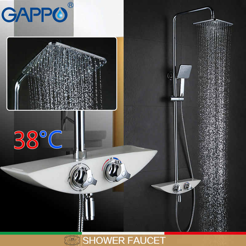GAPPO shower faucet thermostatic water mixer brass rainfall shower set wall mount shower mixer tap bath shower head chrome polished rainfall solid brass shower bath thermostatic shower faucet set mixer tap with double hand sprayer wall mounted