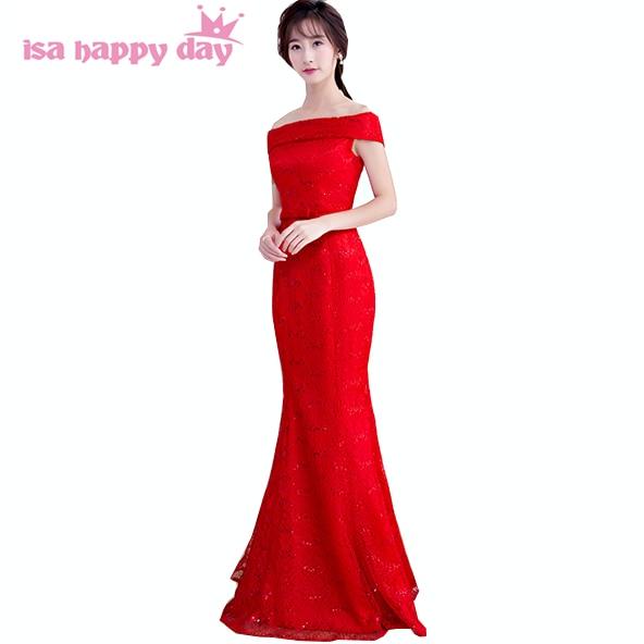 d48e89ef6091 Vintage ispirato sexy rosso della damigella d onore del merletto cameriera  spose abiti lunghi damigelle d onore vestito a sirena cina charms H3917 da  ...