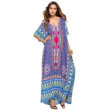 46c6d6f9e8 2018 Ladies\' Print Beach Sundress Sexy V-neck Bohemian Long Dress African  Ethnic