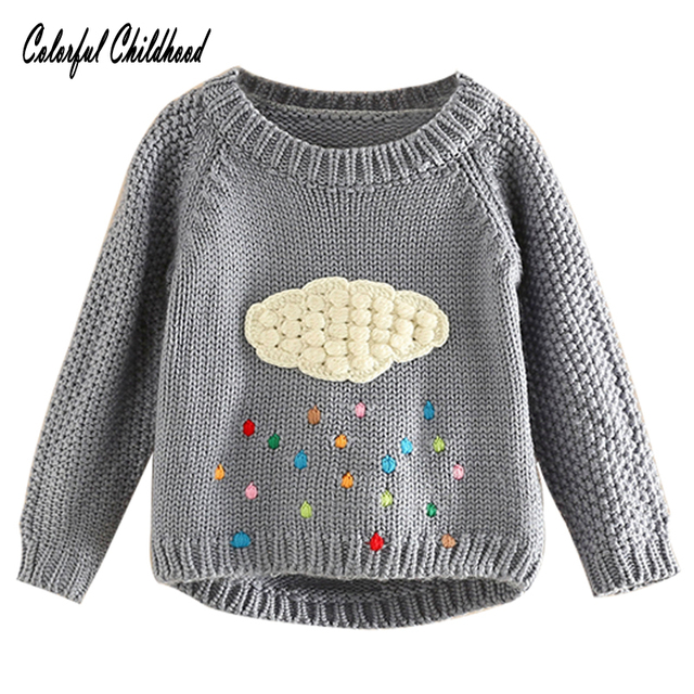 c36a9ec912516 Baby Girls Sweaters Winter Girl Long Sleeve Knitted Clothes kids cloud  raindrops design pullovers For Girls