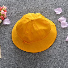 Japanese uniform student small yellow hat Cute bow solid color sunhat Cosplay Sun Hat