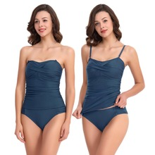 Ladies Best Two Pieces Swimwear Ruched Tankini Top With Triangle Bottoms No Underwire Soft Bra Support Adjustable Shoulder Strap цена 2017