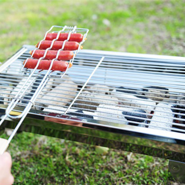 NOCM-Stainless steel Wooden Handle BBQ Sausage Grilling Basket Grill Rack Hot Dog Mesh Clips Barbecue Tools For Outdoor Campin
