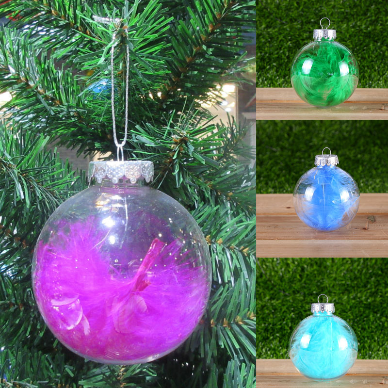 6cm/8cm Plastic Feather Transparent Christmas Ball Adornments Fashion Creative Christmas Tree Hanging Decoration 7A0644