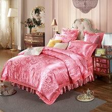 Pink Flowers European Jacquard Bedding Silk Cotton Blend Queen King Size 4/6/7pcs Duvet Cover Bedskirt Sheet Pillow Case