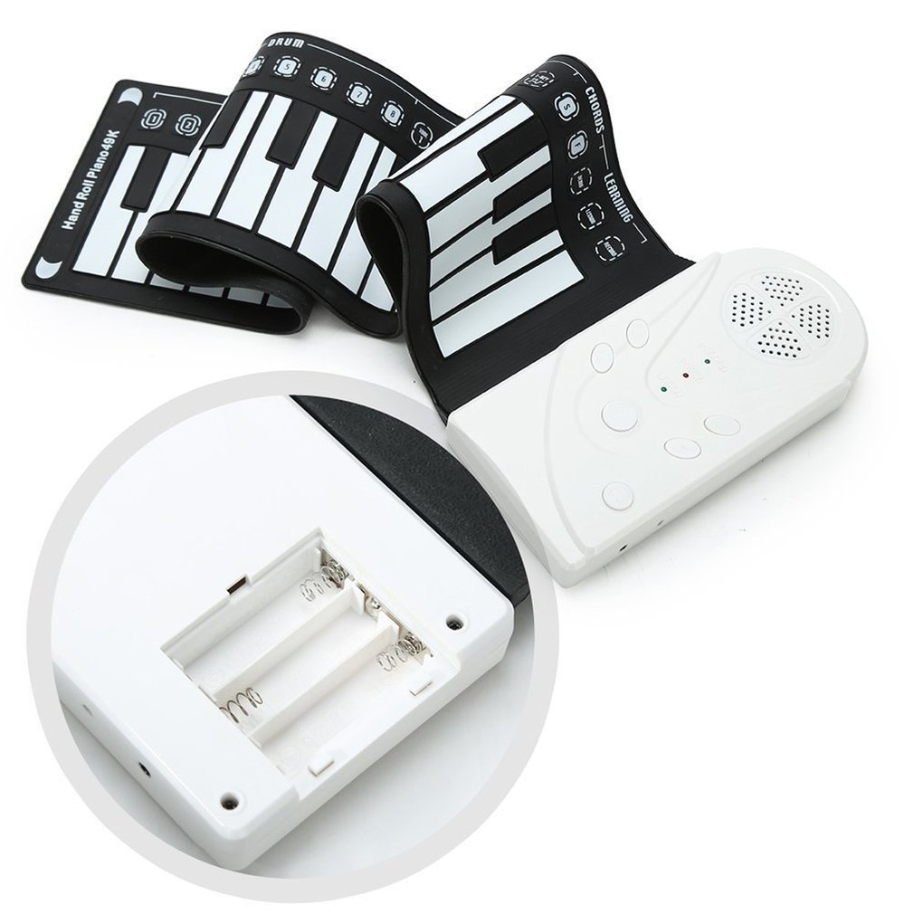 Portable 49 Key Hand Piano With Speaker Hand Roll Electronic Piano Folding Roll Up Piano 16 Tones 6 Demo 10 Rhythm