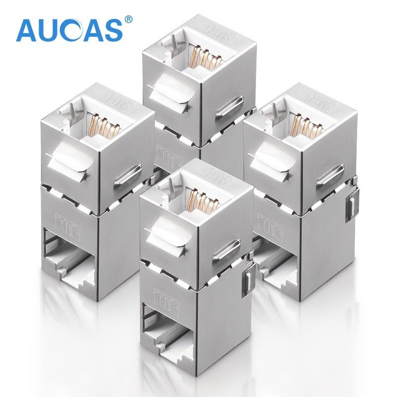 Aucas RJ45 Coupler Cat7 90 Degree Wall Outlet Plate Modular FTP 8P8C Cable Joiner Extender Adapter