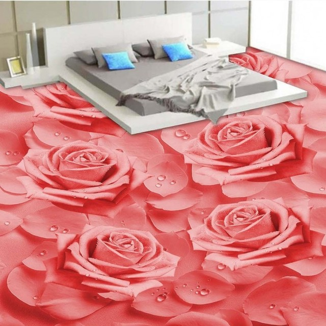 Free Shipping HD Warm Fragrance Pink Roses 3D Flooring Sticker Wallpaper Bedroom Aisle Hallway Floor