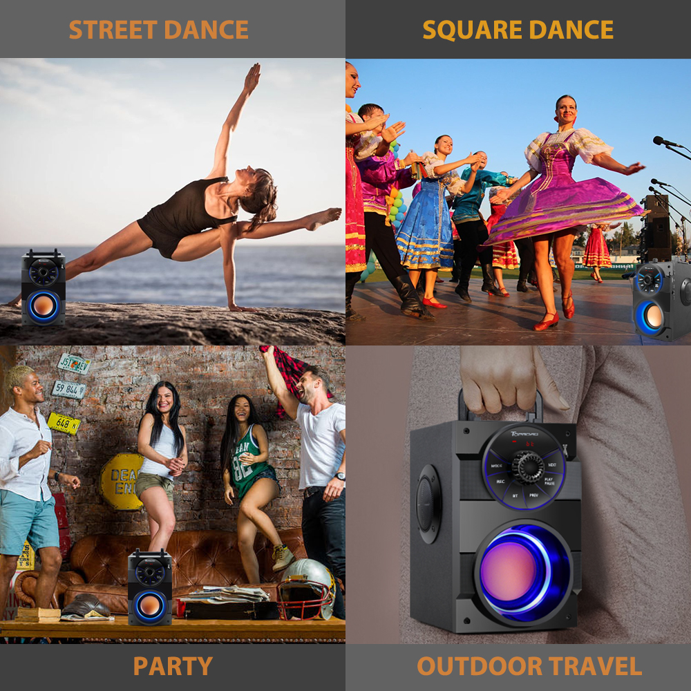 TOPROAD Bluetooth Speaker Portable Big Power Wireless Stereo Subwoofer Heavy Bass Speakers Sound Box Support FM Radio TF AUX USB 6