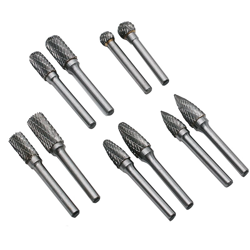 5Pcs / Set Carbide Tungsten Steel Grinding Head 6x10 6x12mm Rotary Boring Cutter Woodworking Wood Carving Carving Knife