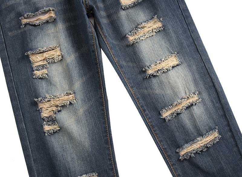 Mcikkny Men\`s Ripped Distressed Jeans Pants Washed Fashion Pleated Casual Denim Trousers Male Streetwear (3)