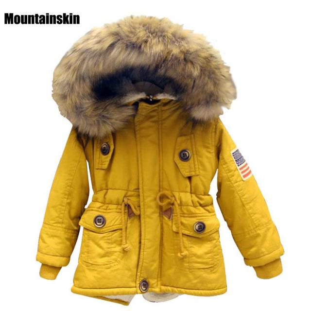 Venda quente Meninas Inverno casacos Meninos Casacos de Algodão Crianças Da Bandeira DOS EUA Com Capuz Outerwear Engrossar Quente 2 das Crianças-8 vestuário Coreano SC715