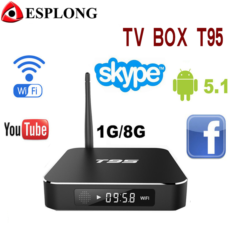 Prix pour Amlogic S905 Quad Core WIFI Android TV Box T95 KODI 16.0 installé Android 5.1 1G 8G 1000 M BaseT 4 K Smart TV box Avec Métal cas