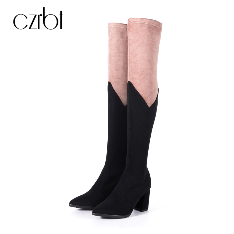 CZRBT High Quality Women Square High Heel Boots Autumn Winter Sexy Over The Knee Women Boots Ladies Pointed Toe Thigh High Boots