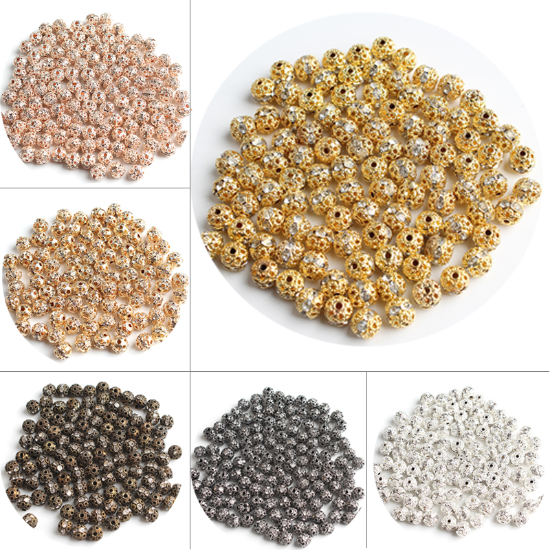 10 Crystal Rhinestone Rondelle Ball Spacer Metal Bead//Golden//Beading Q1-Gold