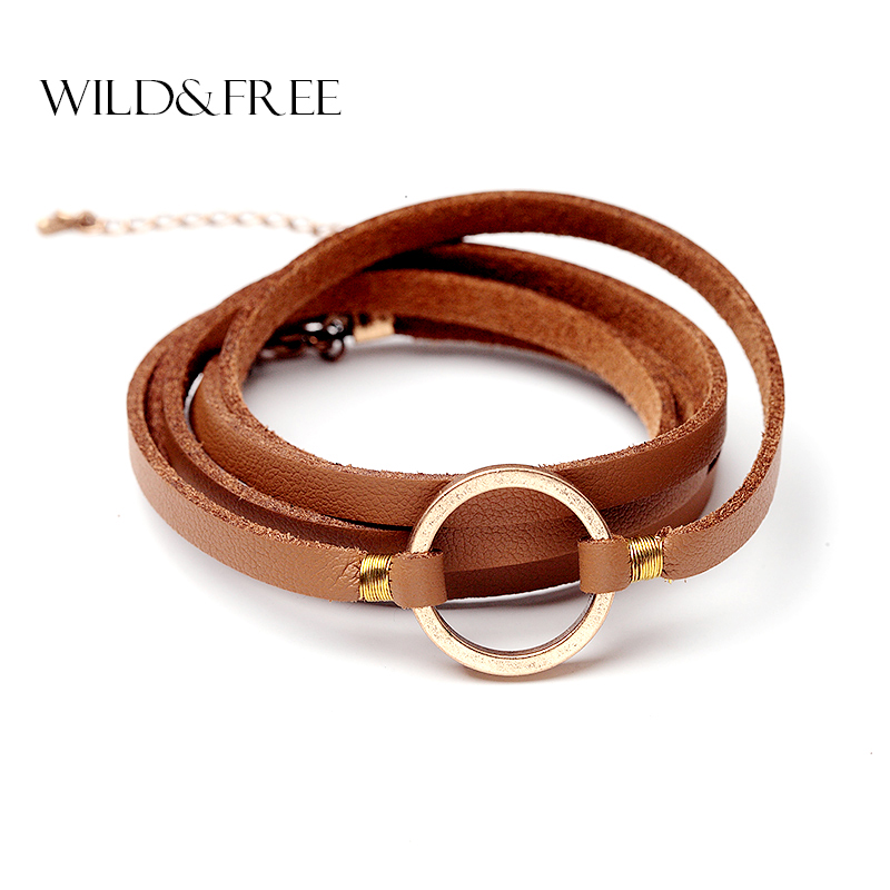 Wild   Free Women Handmade Black Brown Leather Bracelets Vintage Gold Silver  Round Circle Connection Pendant Bracelets Jewelry wholesale bracelet jewelry  ... 001b273f93