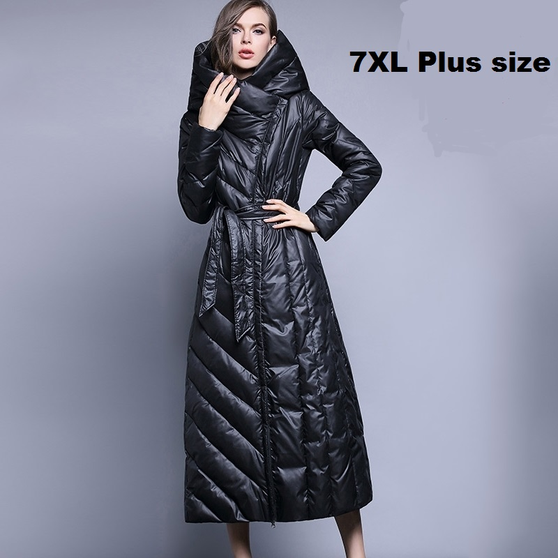 XS-7XL de talla grande 90% plumón de pato marca de moda con capucha Chaqueta larga de mujer sobre la rodilla abrigo grueso Delgado wj1304