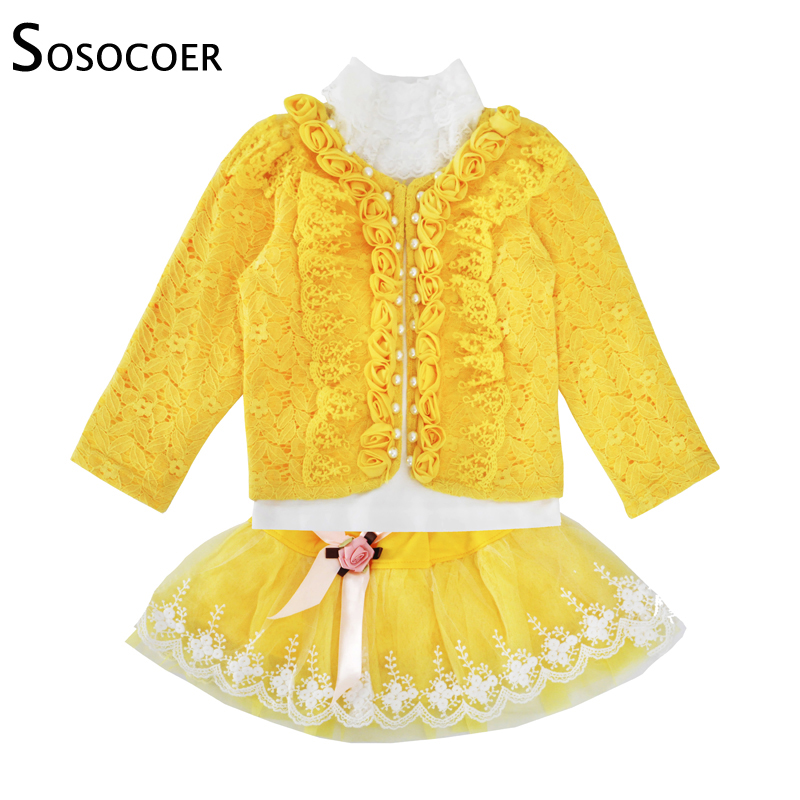 SOSOCOER Toddler Girls Clothing Set Spring Autumn Lace Coat Long Sleeve T Shirt Skirt 3pcs Outfits Kids Baby Clothes Set Yellow baby girl clothes set floral long sleeve t shirt skirt 2 pcs sets toddler girls infant spring autumn clothing suit kids outfits