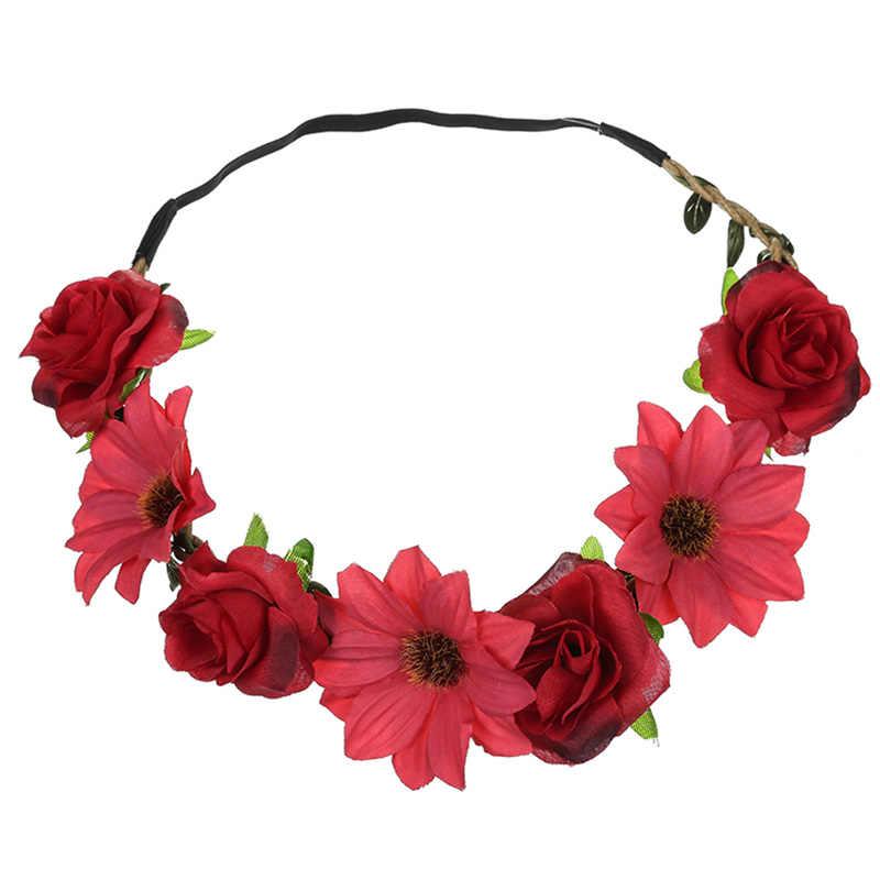 Бохо эластичный Цветочный венок ободок Свадебный венок Розовый венок подружки невесты гирлянда пляж Elastique шевроэ аксессуары для волос невесты