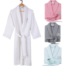 100% Cotton men women s bathrobe Embroidery Waffle Soft Robe Hotels  absorbent Night Dressing Gown pijamas 479bd400a