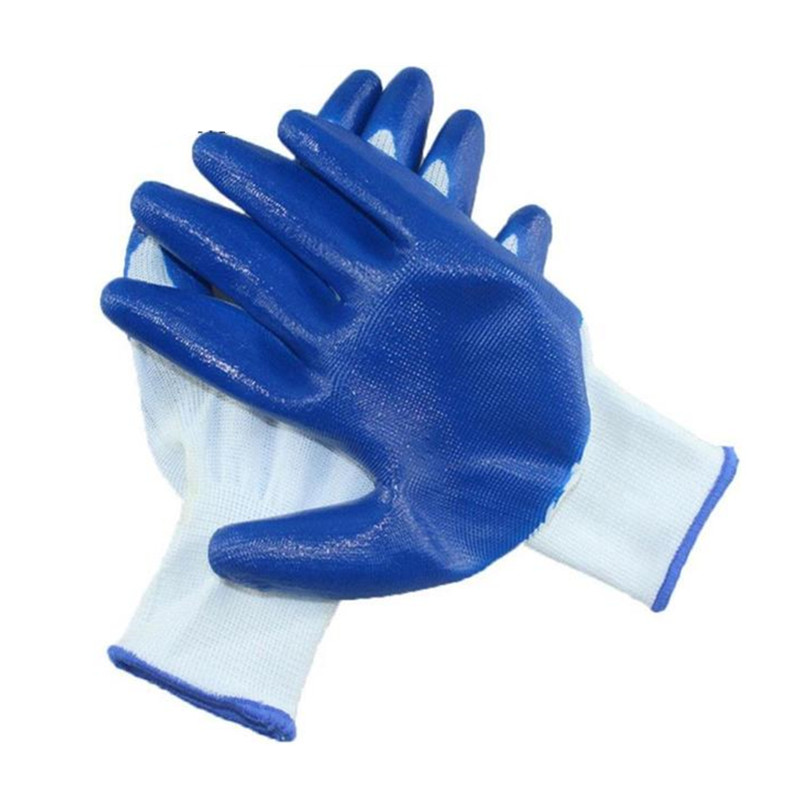 1 Pairs Nitrile Work Gloves Dipped Protective Rubber Gloves Anti-skid Anti-cutting Reusable Nylon Gloves Safety Work Glove