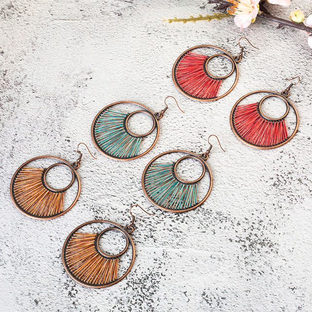 Fiber String Vintage Round Dangle Earrings
