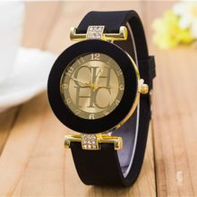 2018 New simple leather Brand Geneva Casual Quartz Watch Women Crystal Silicone