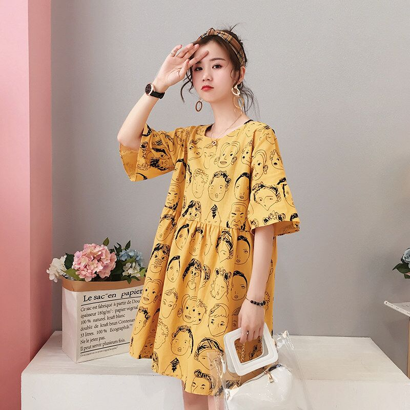 Summer Maternity Dresses Nursing Dresses High Waist Korean Face Breast Feeding Dress Clothes For Pregnant Women Pregnancy Dress