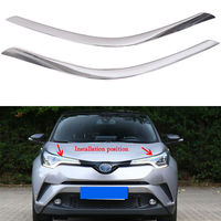 For TOYOTA CHR 2016 2018 Car Front Headlight Lamp Moulding Trim Strip Chrome ABS New