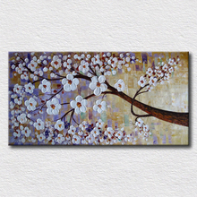 Beautiful palette knife flower pictures canvas decoration art for bedroom nice gift for friends high quality artwork