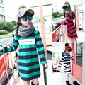 Meninas camisola meninas hoodies crianças inverno camisolas sudadera nina kids clothing stripe hoodies aquecido menina impressão tops