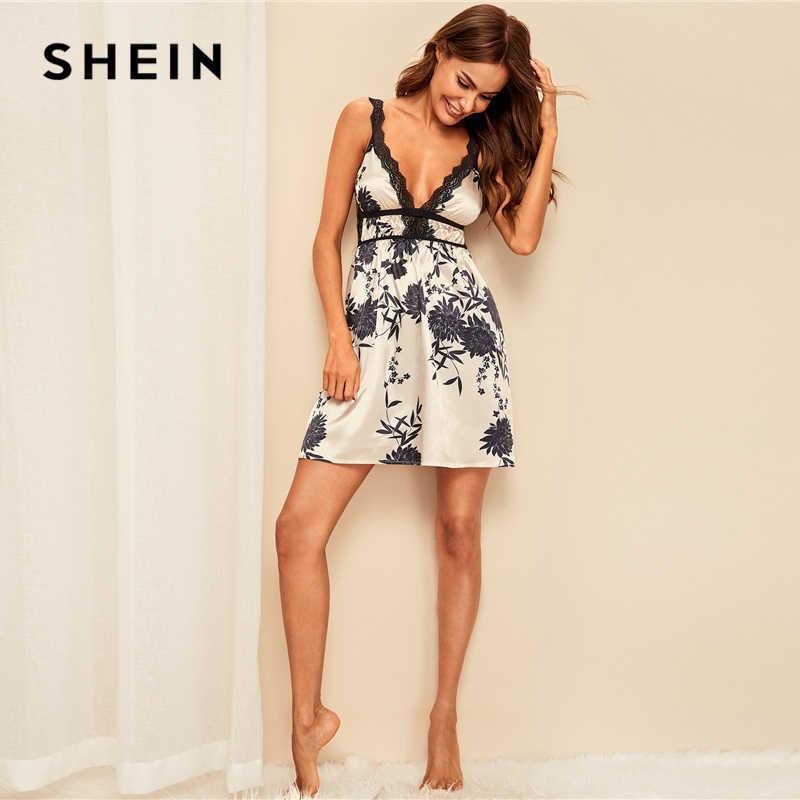 SHEIN Multicolor พิมพ์ความคมชัดลูกไม้ซาตินเซ็กซี่ Cami ชุดราตรีผู้หญิงฤดูร้อน V V คอชุดนอนชุดนอน Nightgowns