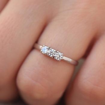 14 18kホワイトゴールドラウンド 3 個の石ラウンド 3 ミリメートルモアッサナイトの婚約指輪バンドラボダイヤモンドソリティアの結婚式女性ファインジュエリー