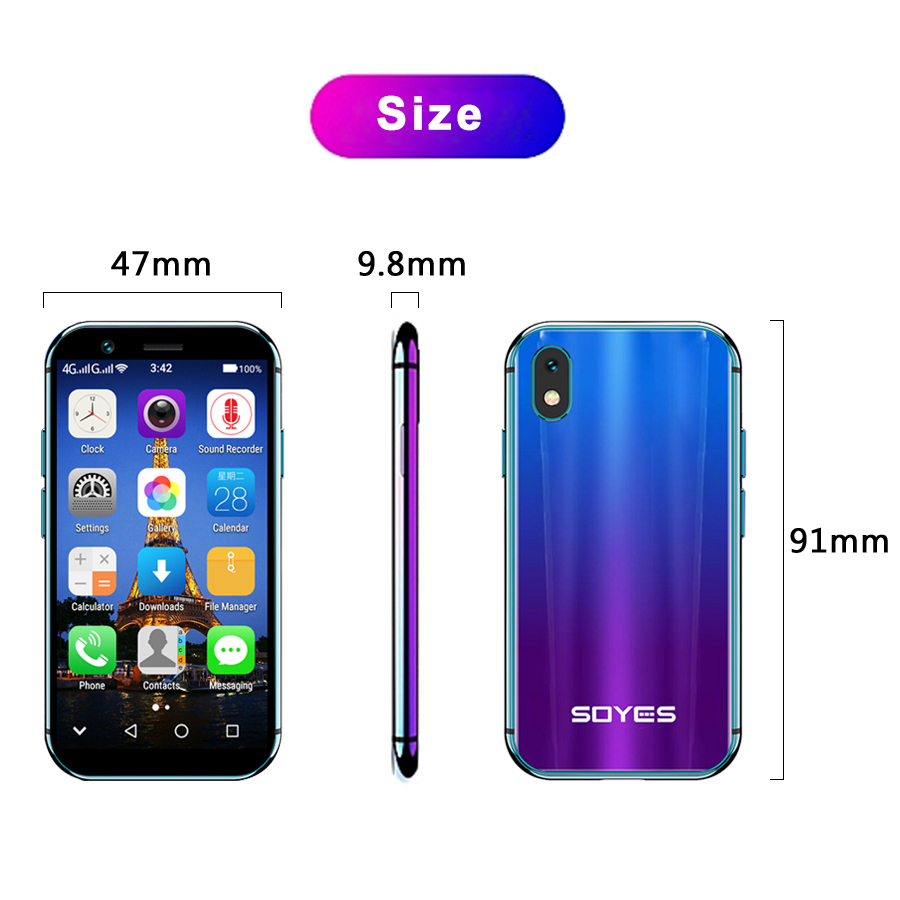 "SOYES XS 3.0"" smallest small Smartphone unlocked super mini phone android 6.0 4G Mobile phones"