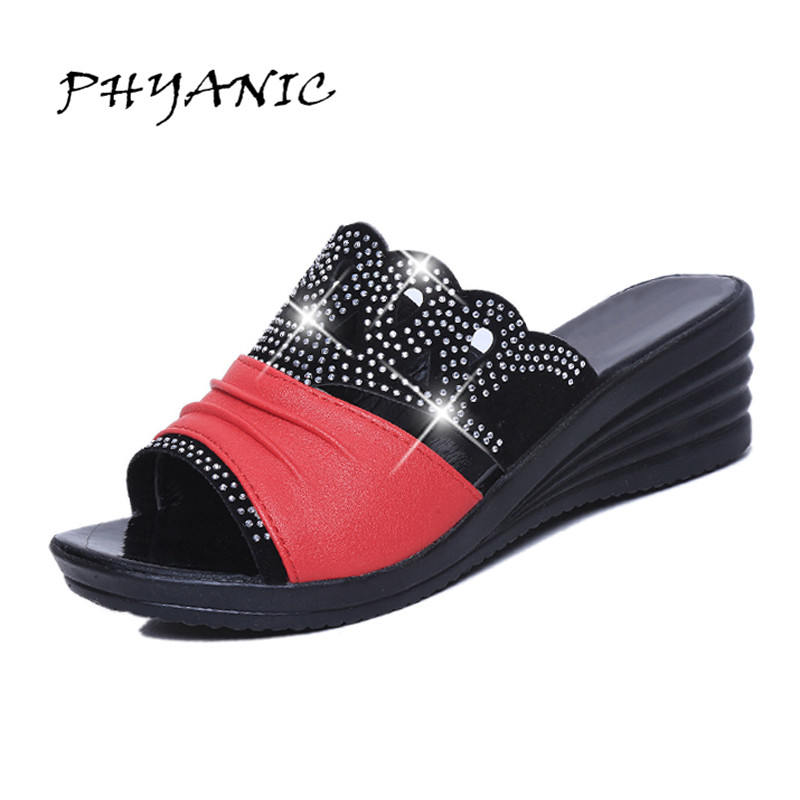 PHYANIC Woman Slides 2017 Summer New Fashion Crystal Bling Bling Slippers Wedges Heel Sandals Mother Shoes PHY4146 phyanic 2017 gladiator sandals gold silver shoes woman summer platform wedges glitters creepers casual women shoes phy3323