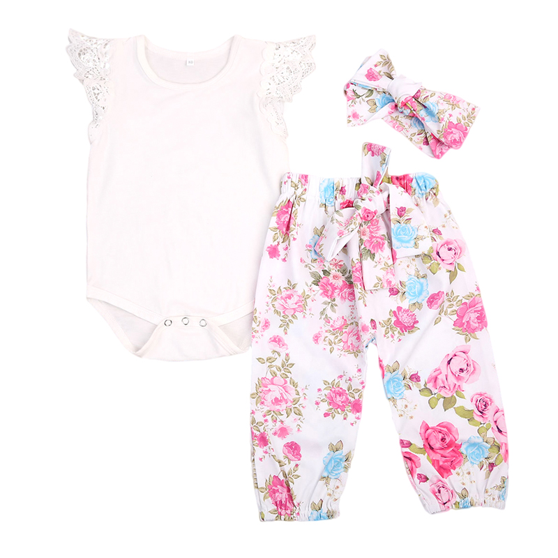 3PCS Set Floral Newborn Baby Girls Clothes Top Lace Romper Pants Headband Outfit Clothes 4pcs set newborn baby clothes infant bebes short sleeve mini mama bodysuit romper headband gold heart striped leg warmer outfit