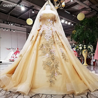 LSX63454 color flowers golden organza party dress off shoulder lace up back evening dress with veil 2018 china online wholesale