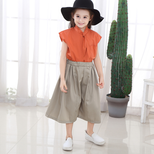 2019 Teen Clothes Suit Elegant Clothing Set For Girls Summer Sailor Collar Children's Clothes 6 8 10 Years Costume For Girls 5