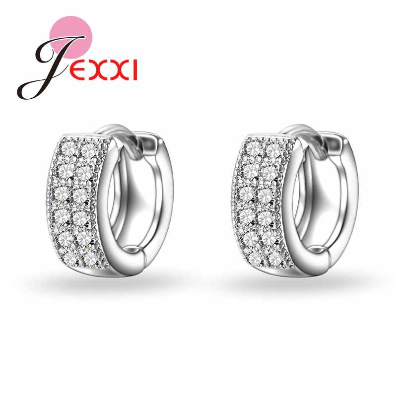 Newest Style 925 Sterling Sliver Exquisite Women/Girls Stud Earrings Silver Fashion Jewelry Shiny White Crystal Hot Sale