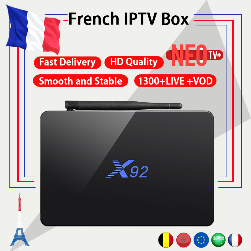 French IPTV box X92 android tv box 7.1 s912 with 1200+NEO IPTV Europe French Arabic africa Tunisia Morocco PayTV Smart IP TV Box x92 android iptv box s912 set top box 700 live arabic iptv europe french iptv subscription 1 year iptv account code