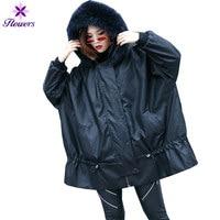 FLOWERS Winter Leather Jacket Women Coat Plus Size New Real fur collar Hooded Loose Streetwear PU Faux leather Outerwear Female