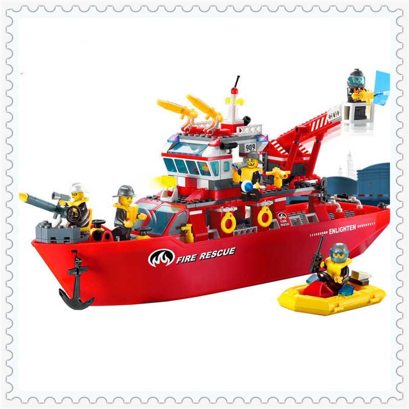 ENLIGHTEN 909 Fire Rescue Multi-Function Ship Model Building Block 359Pcs Educational  Toys For Children Compatible Legoe 0367 sluban 678pcs city series international airport model building blocks enlighten figure toys for children compatible legoe