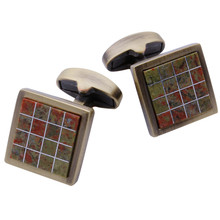 Vintage Antique Stone Cufflinks Mens Clothing Jewelry Cuff links for Shirt