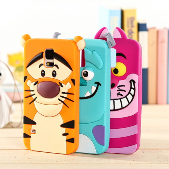 3D Cute Sully Tiger Alice Cat Case For Samsung Galaxy S5 SV i9600 SM-G900F Soft Rubber Silicone Anti-Knock Back Skin Cover Cases
