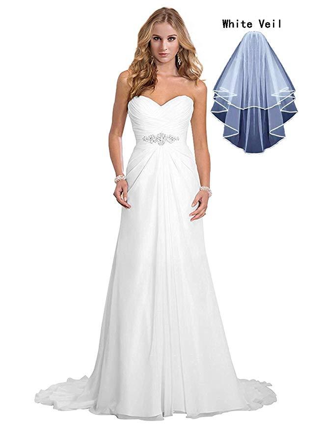 Women's Chiffon A-Line Wedding Dresses Simple Sweetheart Beach Bridal Gowns With Veil Vestido De Novia