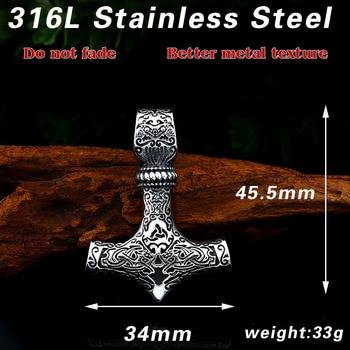 Beier 316L stainless steel Norse Viking Pendant Necklace Thor's Hammer Mjolnir Scandinavian rune odin amulet men jewelry LP384 1