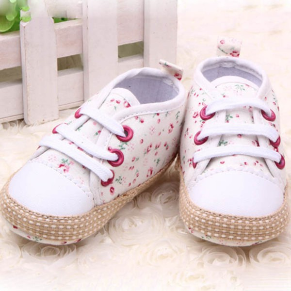 Lovely 0-12M Baby Kid Girl Crib Shoes Toddler Soft Sole Sneakers Prewalker